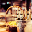 Wine bar tasting set up tray decoration bottles in restaurant — Stock Photo