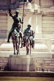 Madrid, Spain - monuments at Plaza de Espana. Famous fictional knight, Don Quixote and Sancho Pansa from Cervantes' story. — Stock Photo