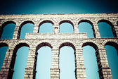 Ancient roman aqueduct of Segovia at Castile and Leon, Spain — Stock Photo
