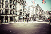 Regent Street is one of the major shopping streets in Europe, London — Stock Photo