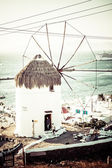 Detail of windmill on Mykonos island, Greece. — Stock Photo