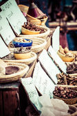 Dried herbs flowers spices in the Spanish street shop — Stock Photo