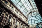 Glass dome of Galleria Vittorio Emanuele II shopping gallery. Milan, Italy. — Stock Photo