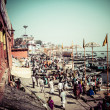 Ghats on the banks of Ganges river in holy city of Varanasi — Stock Photo #27815939