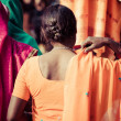 Women with colorful saris in Varanasi, India. — Stock Photo