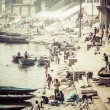 Ghats on the banks of Ganges river in holy city of Varanasi — Stock Photo
