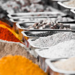 Indian colorful spices and tea at Anjuna flea market in Goa, India — Stock Photo