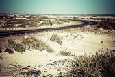 Winding desert road across the dunes of Corralejo, Fuerteventura, in the Canary Islands, Spain. — Stock Photo