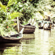 House boat in backwaters near palms in Alappuzha, Kerala, India — Stock Photo #28078141
