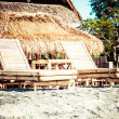 Stock Photo: Balinese Jimbarbeach famous for it's perfect sefood restaurants