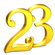 3D Gold Number twenty-three on white background — Stock Photo