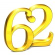 3D Gold Number sixty-two on white background  — Stock Photo