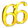 3D Gold Number Sixty-six on white background — Stock Photo #31491365