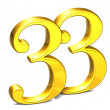 3D Gold Number thirty-three on white background — Stock Photo