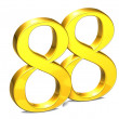 3D Gold Number eighty-eight on white background — Stock Photo