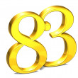 3D Gold Number eighty-three on white background — Stock Photo