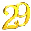 Stock Photo: 3D Gold Number twenty-nine on white background