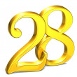 3D Gold Number twenty-eight on white background — Stock Photo