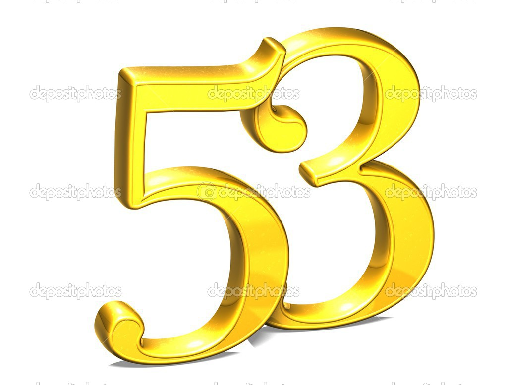 3d Gold Number Fifty