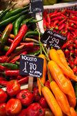 Pimentões vermelhos e verdes penduraram para secar a la boqueria mercado barcelona — Foto Stock