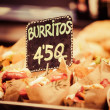 Stock Photo: Burrito stall in indoors market.