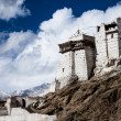 Namgyal Tsemo Gompa, buddhist monastery in Leh at sunset with dramatic sky. Ladakh, India. — Stockfoto