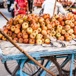 Various different vegetables and mango in wooden baskets at the market, Kumly, Kerala, India — Stock Photo #34551285