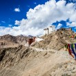 Namgyal Tsemo Gompa, buddhist monastery in Leh at sunset with dramatic sky. Ladakh, India.  — Stock Photo