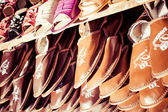Traditional polish leather in local market in Zakopane. — Stock Photo