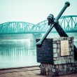Stock Photo: Poland - Torun famous truss bridge over Vistulriver. Transportation infrastructure.