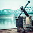Stockfoto: Poland - Torun famous truss bridge over Vistulriver. Transportation infrastructure.