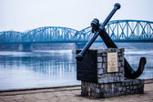 Poland - Torun famous truss bridge over Vistula river. Transportation infrastructure. — Stock Photo