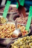 Assortment of olives on market,Tel Aviv,Israel — Stock fotografie