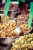 Assortment of olives on market,Tel Aviv,Israel — Stock Photo