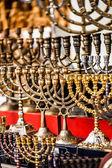 Menorah for sale in shop in the Jerusalem old city market. — Stock Photo