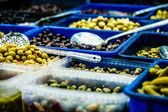 Assortment of olives on market,Tel Aviv,Israel — Photo
