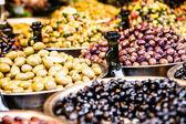 Assortment of olives on local market,Tel Aviv,Israel — Stock Photo