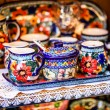 Colorful ceramics in traditonal polish market. — Stock Photo #37699847