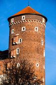 Medieval gothic Sandomierska and Senatorska Towers at Wawel Castle in Cracow, Poland — Stock Photo