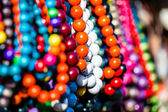 Wooden colored beads on display on the market in Zakopane, Poland — 图库照片