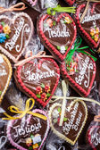 Gingerbread hanging at the christmas market in Poland — Stockfoto