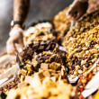 Stock Photo: Dried fruits at market (LBoqueria, Barcelonfamous place)