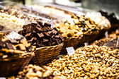 Dried fruits at the market (La Boqueria, Barcelona famous place) — Stock Photo