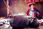 Aldeia tradicional no peru, américa do sul. — Foto Stock