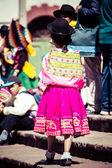 Peruvian dancers at the parade in Cusco. — Stock Photo