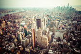 Aerial view of Manhattan skyline at sunset, New York City  — Stock Photo