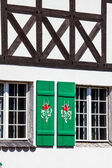 Typical germany windows with green shutters and window box  — Stock Photo