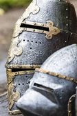 Armour of the medieval knight. Metal protection of the soldier against the weapon of the opponent  — Stock Photo