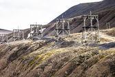 Aerial coal mining towers, Longyearbyen, Svalbard, Norway  — Stock Photo