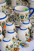 Colorful ceramics in traditonal polish market.  — Stock Photo